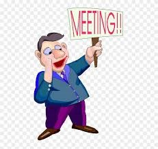 cartoon character holding a sign saying meeting