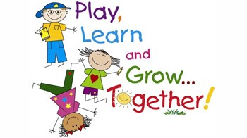 "cartoon children with the caption ""Play learn and grow together"""