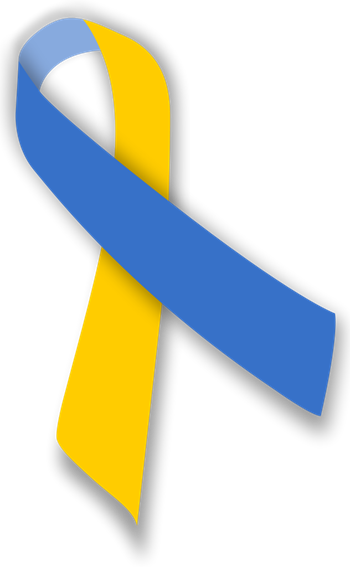 down syndrome blue and yellow ribbon