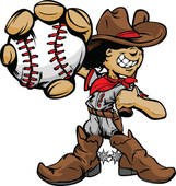 cartoon cowboy character throwing a baseball