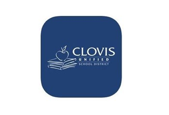 App image of a blue square with Clovis Unified School District printed