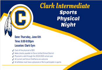 Picture of Clark flyer with information about the sports physicals