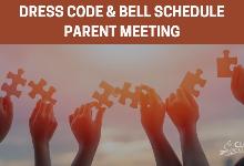 dress code & bell schedule Parent meeting -Hands holding puzzle pieces