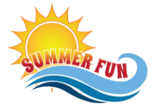 summer fun logo with a picture of a sun and a wave of water