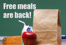 free meals are back! sack lunch with apple and milk