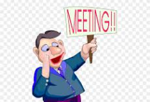 """cartoon character holding a sign """"MEETING"""""""