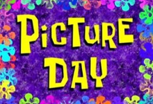 Picture Day background purple with flowers