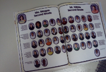 yearbook open with student pictures