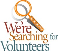 "sign reading ""We are searching for volunteers"""